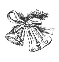 Hand sketch of Christmas bells vector image vector image