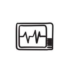 Heart monitor sketch icon vector