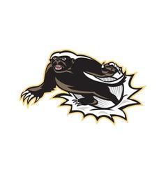 Honey badger mascot jumping vector
