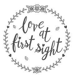 Love at first sight calligraphy isolated qoutes vector