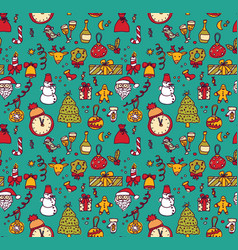 new year christmas objects blue seamless pattern vector image vector image