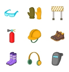 Outfit of road worker icons set cartoon style vector