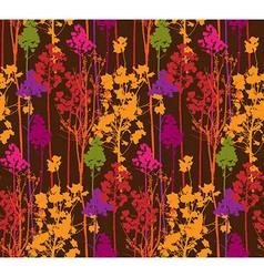 Pattern with colorful trees on brown background vector