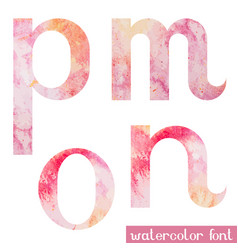 Pink spring watercolor font letters m n o p vector