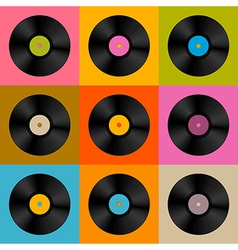 Retro Vintage Vinyl Record Disc Background vector image vector image