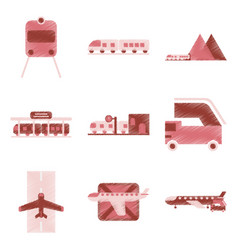 set of flat icons in shading style logistics vector image