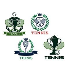 Set of tennis emblems or badges vector image