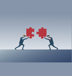 Two business men solving puzzle work together vector