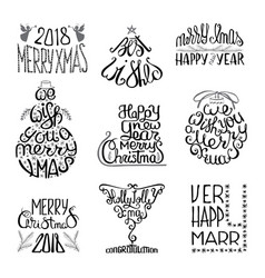 winter typographic set vector image