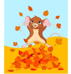 Happy fall mouse vector
