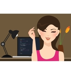Beautiful girl female programmer occupation jobs vector