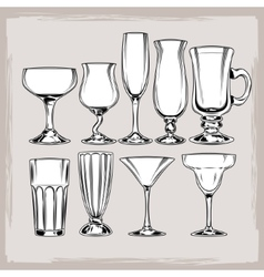 Set of empty cocktail glasses vector