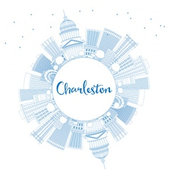 Outline charleston skyline with blue buildings vector
