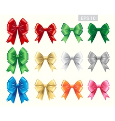 Set of colorful ribbon tied bows vector