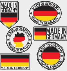 Made in Germany label set with flag vector image