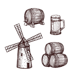Beer barrel glass and windmill sketch set vector