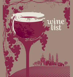 Wine list menu with glass grapes and landscape vector
