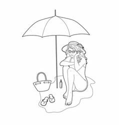 Woman under her umbrella drawing vector