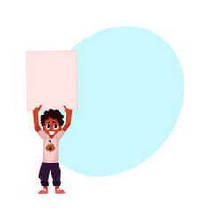 Little black african american boy kid holding vector