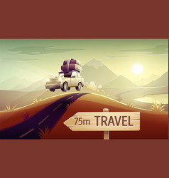 Family travel vacation drive vector