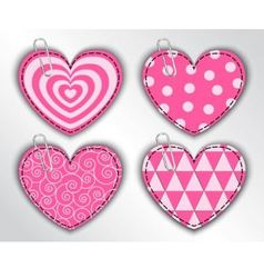 Paper hearts with different patterns vector