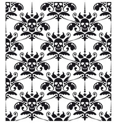 Pattern baroque with skulls vector image