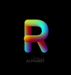 3d iridescent gradient letter r vector