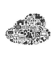 cloud social media icons set vector image
