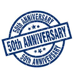 50th anniversary blue round grunge stamp vector