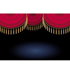 Red satin or velvet curtain with lace or thread on vector