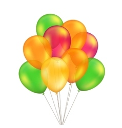 Green red orange yellow balloons set vector