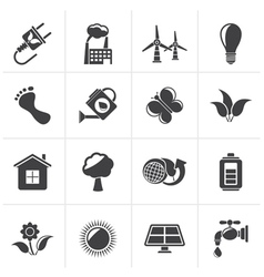 Black green ecology and environment icons vector