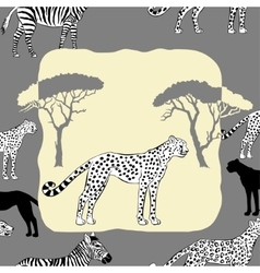Cheetah between savannah trees vector