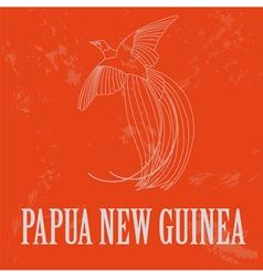 Papua new guinea paradise bird retro styled image vector