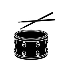 Drum with sticks icon black simple style vector