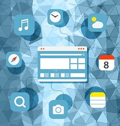Web browser information transfer concept vector