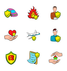 accident icons set cartoon style vector image vector image