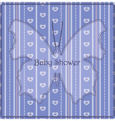 Baby-shower-butterfly-stripes-blue vector image vector image
