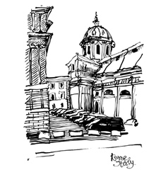 black and white sketch drawing of Rome cityscape vector image vector image