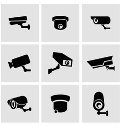 black security camera icon set vector image