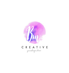 Bm watercolor letter logo design with purple vector