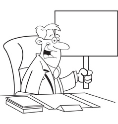 Cartoon businessman holding a sign vector image vector image