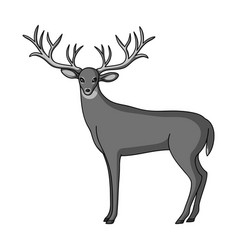 Deer with big hornsanimals single icon in vector
