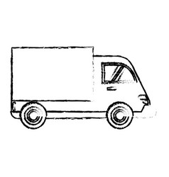 Delivery truck cargo transport sketch vector
