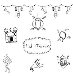Eid mubarak doodle hand draw vector