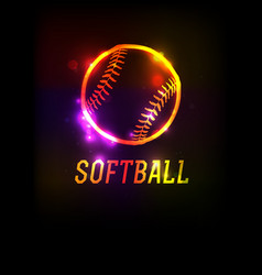 Glowing softball icon background vector