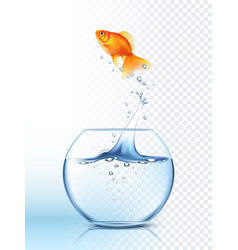 Golden Fish Jumping Out Bowl Poster vector image