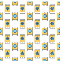 linear seamless pattern with mobile internet icon vector image