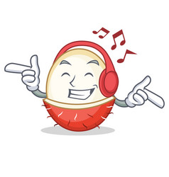Listening music rambutan mascot cartoon style vector