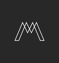 Logo m letter monogram thin line weaving geometric vector